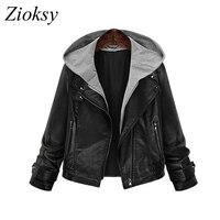 Zioksy 2017 Women PU Leather Jacket Autumn Winter Hooded Oversized Bomber Jackets Long Sleeve Fashion Short Coat Blouson Femme