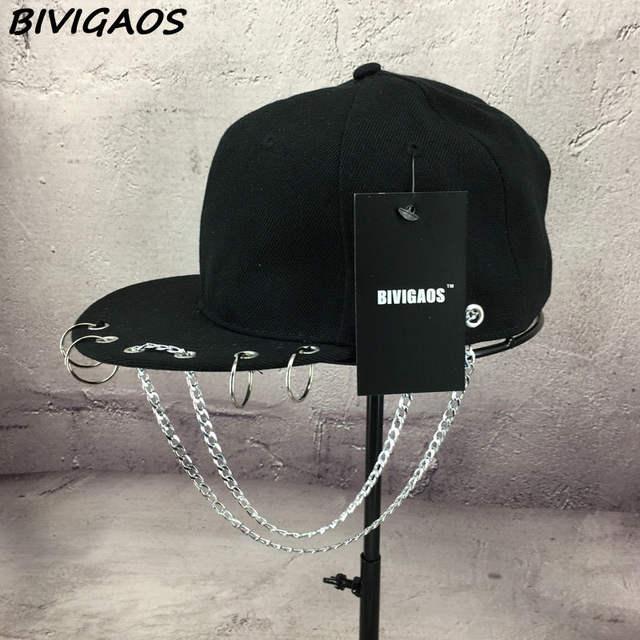 Harajuku Fashion SWAG Rivet Chains Baseball Caps Hip Hop Hat Iron Hoop Snapback  Cap Trend Couple 860b7481ed86