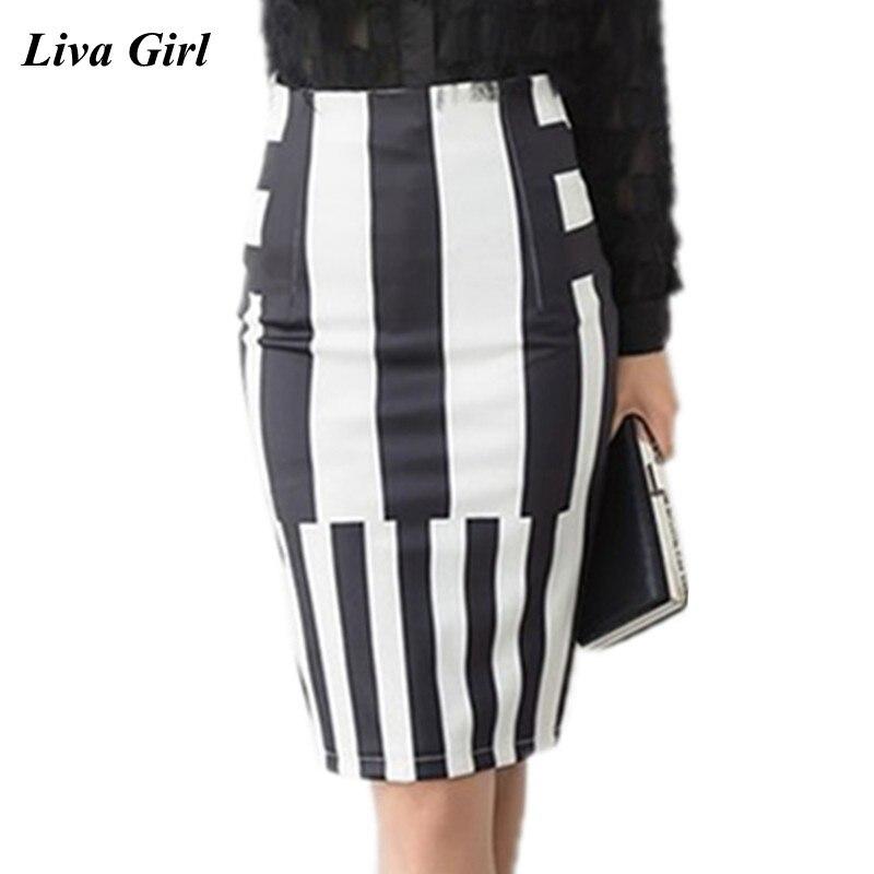 S-3XL Womens Striped Skirts 2018 Fashion Winter Sexy High Waist Skirt Office Ladies Elastic Summer Print Pencil Skirts Plus Size
