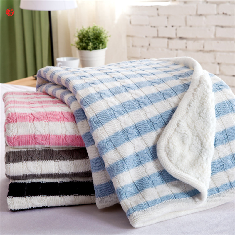 Home textile knitted Blanket AB side pink gray cotton blanket for Adult children stripe plaid throw on Sofa/Bed/Plane 150*200cm