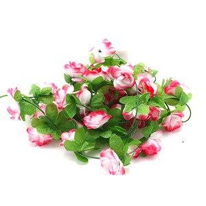 Image 5 - 가짜 실크 장미 꽃 아이비 포도 나무 인공 꽃 녹색 잎 홈 웨딩 장식 매달려 갈 랜드 홈 장식