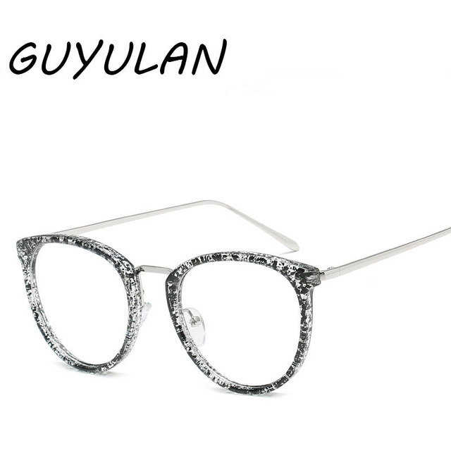 GUYULAN reading retro metal print Women Flat glasses Solid Oval ...