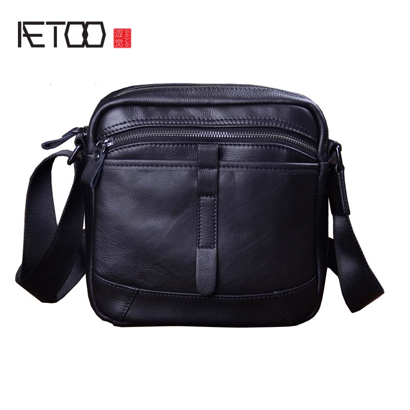 AETOO Oiled leather leather retro men's 8 inch summer travel flap men shoulder diagonal package aetoo oil wax leather leather europe and america retro men s 8 inch summer travel simple shoulder diagonal package