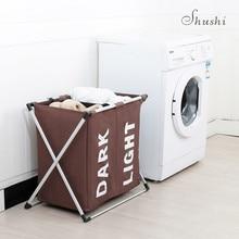 SHUSHI грязная одежда два отделения Органайзер многоцелевая корзина для хранения х рама Складная Домашняя одежда игрушка корзина для белья