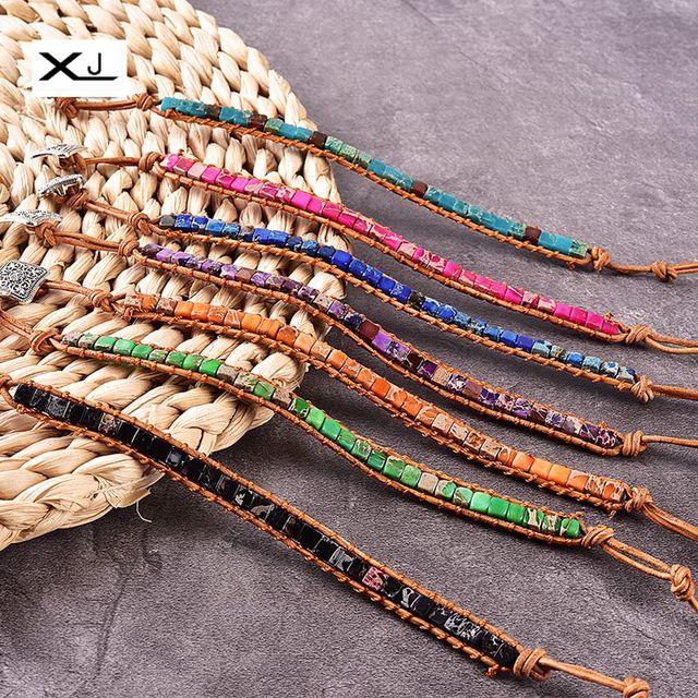 XJ בעבודת יד קיסרי יאספרס אבן חוט צינור חרוזים עור פרה חבל לעטוף צמידי תכשיטי נשים מתנה