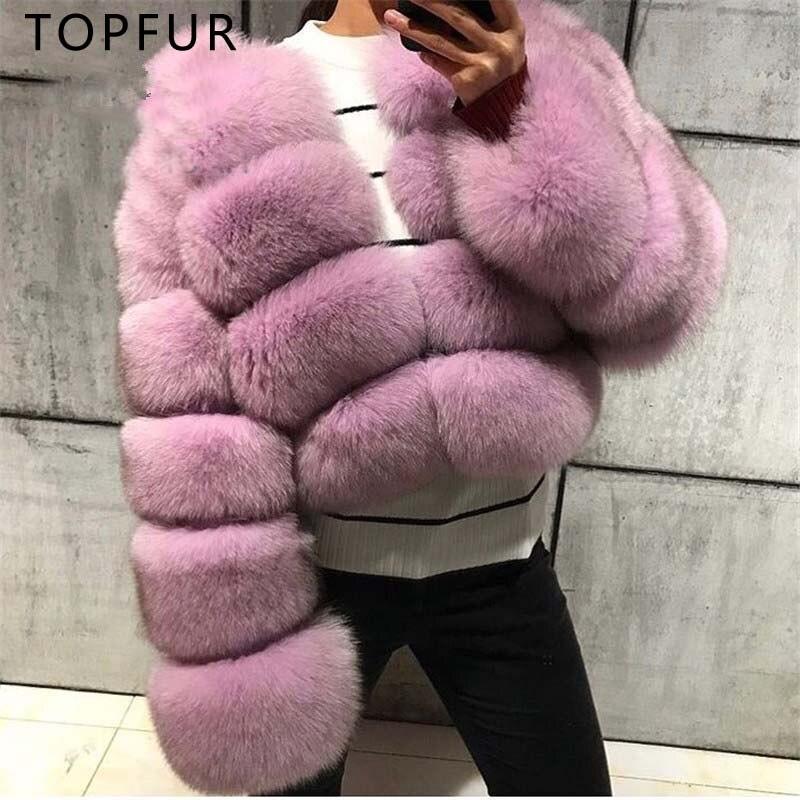 TOPFUR Luxueux Hiver Chaud Réel Fox Manteau De Fourrure Pour Les Femmes Mode Conchyliculture Fourrure De Renard Veste Femme Hiver Réel De Fourrure Court vestes