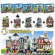 Decool 1105-1109 Mini Scene Villa Minifigure Enlighten Building Block sets Toys For Children compare with legoe