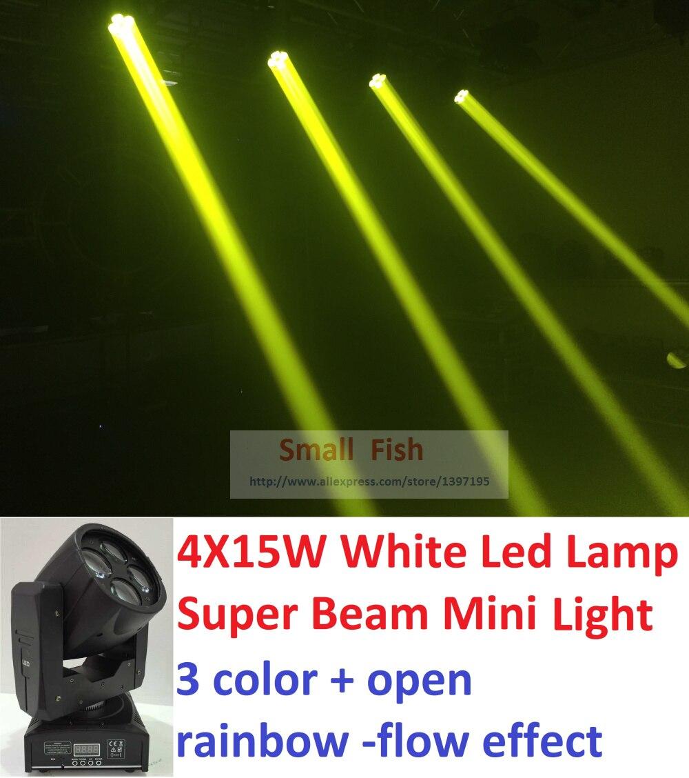 DHL Livraison Gratuite Led Faisceau Mobile Head Light 4X15 W Blanc Led Lampe Super Brillants Faisceau Led Éclairage de Scène Effet Disco équipement