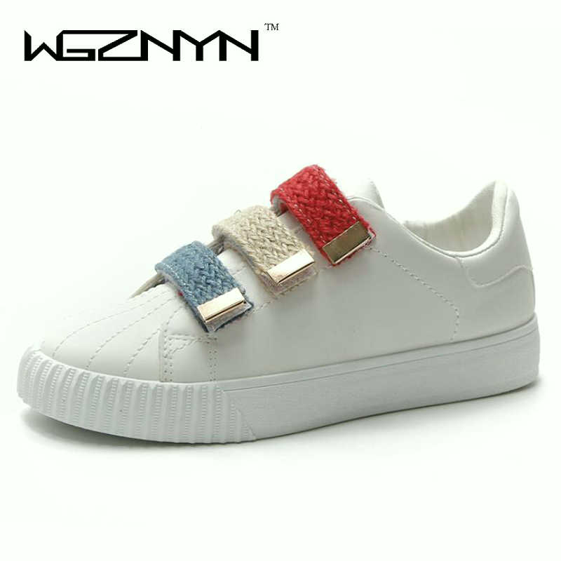 WGZNYN New women shoes breathable white shoes mixed colors fabric fashion shoes sewing rubber sneakers women non-slip zapatos W4