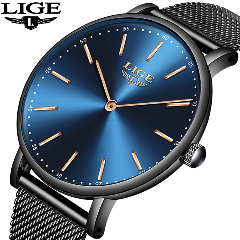 New Mens Watches Top Luxury Brand LIGE Fashion Waterproof Ultra Thin Clock Male Full Steel Quartz Watch Men Business Wristwatch didun mens watches top brand luxury watches men steel quartz brand watches men business watch luminous wristwatch water resist
