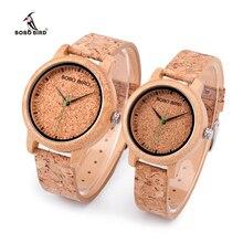 BOBO BIRD Lovers Bamboo Quartz Couple Watches 2020 Top Brand Fashion Cork Strap Wristwatches Timepiece relogio feminino Dropship