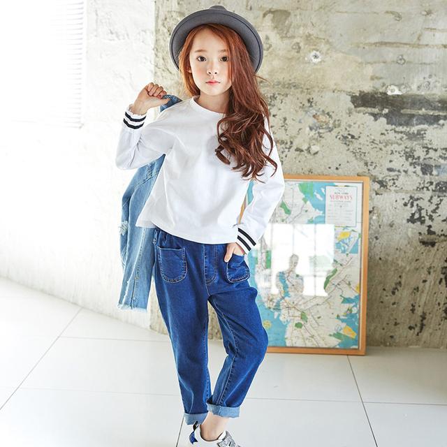 Outono Meninas Novas Calças Jeans Lazer Moda Estudantes Do Sexo Feminino Marca de Alta Qualidade 100% de Algodão Stretch Roupas de Brim das Crianças