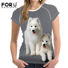 FORUDESIGNS 3D Printed Samoyed Dogs Women Fashion Tee Tops Female Casual T-Shirt For Ladies T-shirts Summer Tshirt