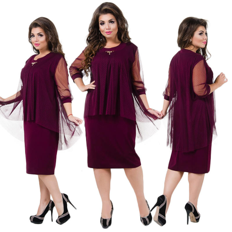 b4f3783740 Ukraine Summer Dress Plus Size Women Clothing Mesh Midi Dress Elegant  Office Dress 5XL 6XL Big Women Dress Female Robe Femme