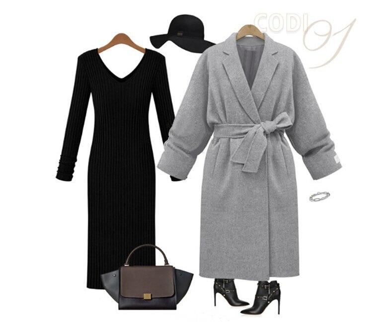 b3216bb2154b5 UK manteau femme 2019 automne hiver femmes Simple noir gris cachemire look  robe Long manteau avec ceinture classique femme pardessus Casacos dans  Laine et ...
