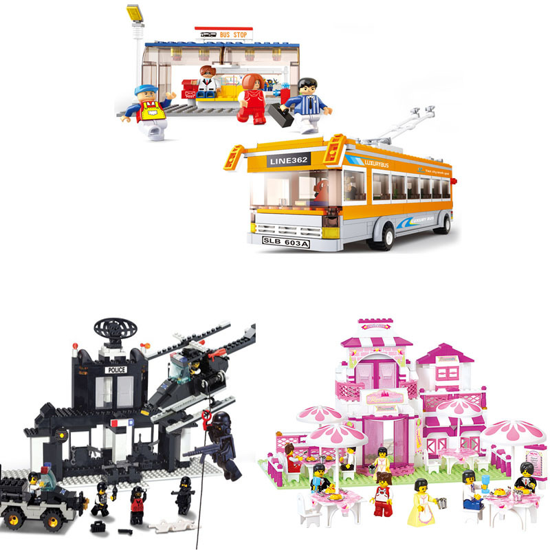 Educational DIY Toys for children Building bricks for girl Restaurant self-locking bricks Compatible with Lego издательство робинс сказочная азбука