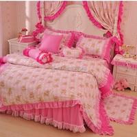 Корейский пастырское кружева постельные принадлежности 3/4 шт. для девочек твин полный queen size рябить розовый цветочный принцесса постельное ...