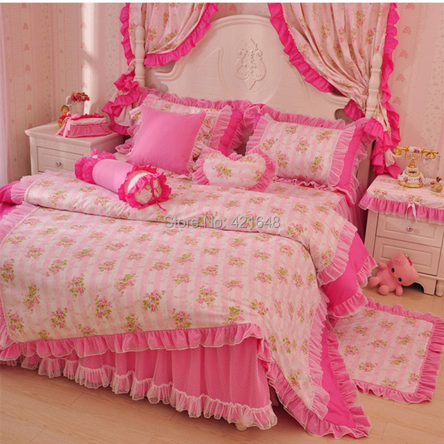 Korean pastoral lace bedding set 3/4pcs for girls twin full queen size ruffle pink floral princess bedclothes free shipping
