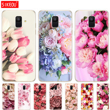 Silicon case for Samsung Galaxy A6 A8 2018 S8 S9 PLUS phone cover A600 A605 A530 A730 bumper Coque Colorful Flower Rose Peony