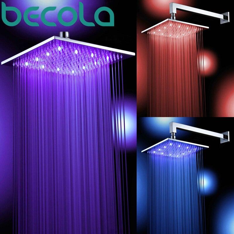 Livraison gratuite becola pomme de douche en laiton 8/10/12/16 pouces carré lumière LED pluie robinet de douche accessoires de salle de bain