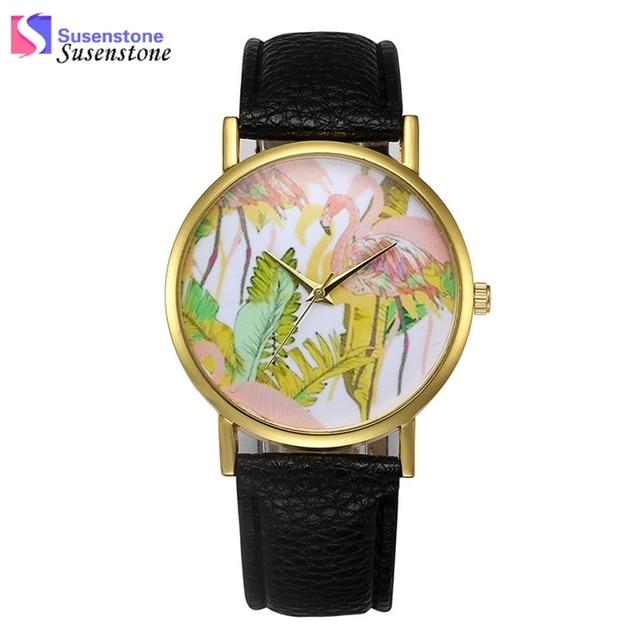 6f14248394d Moda Flamingo Imprimir Mulheres de Couro Banda relógio de Quartzo Relógio  de Pulso Mulheres Liga Analógico