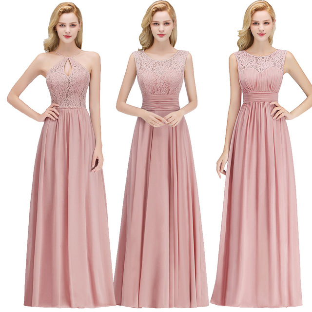 Robe Longue Chiffon   Bridesmaid     Dresses   New Arrival A-line Sleeveless Burgundy Pink Women Formal Wedding Party   Bridesmaid     Dress