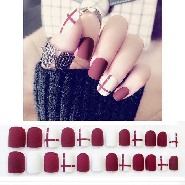 24pcsset White Red Bride Nail Art Tips Short Geometric Line Full
