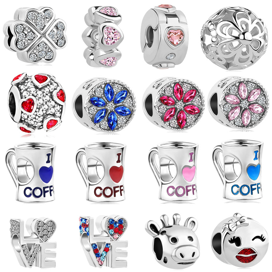 2018 new 1pc  petal  love coffee spacer clip diy bead Fits pandora charms original bracelet for women mix092(China)