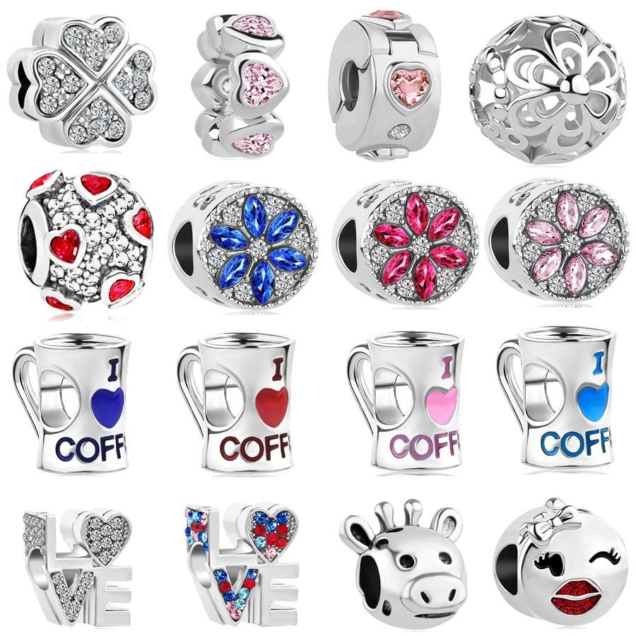 2018 new 1pc  petal  love coffee spacer clip diy bead Fits pandora charms original bracelet for women mix092 chaine de sécurité pour jonc pandora
