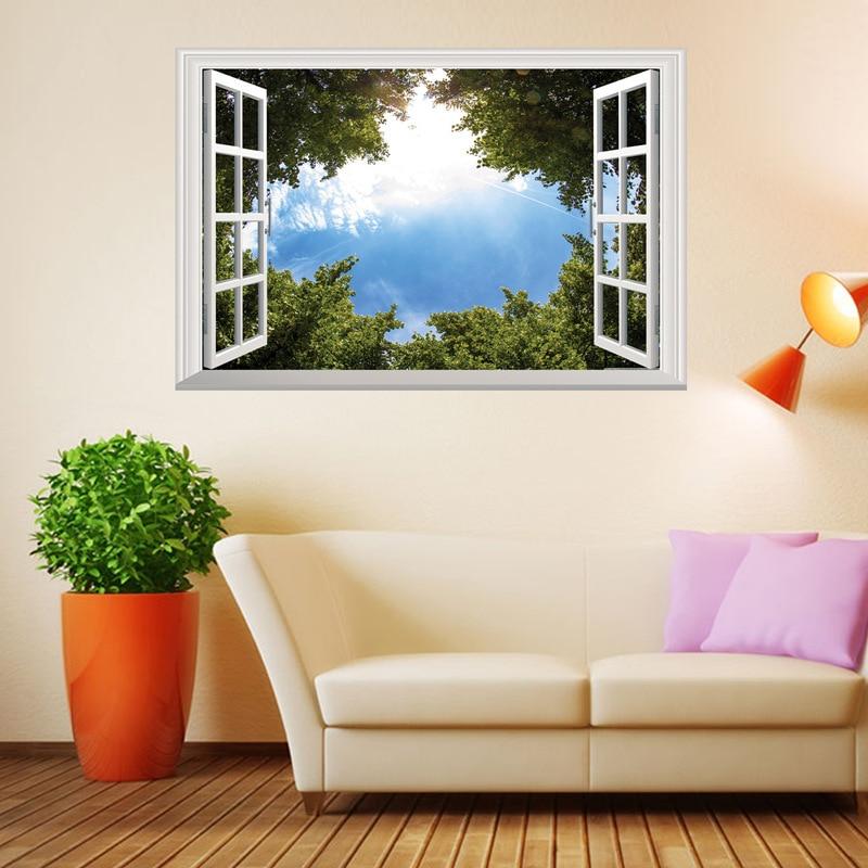 US $3.93 21% di SCONTO|Blue Sky White Cloud Finestre Adesivi Murali Albero  Paesaggio 3D Casa Fai Da Te Decalcomanie Stampa Murale Cover Art Poster ...