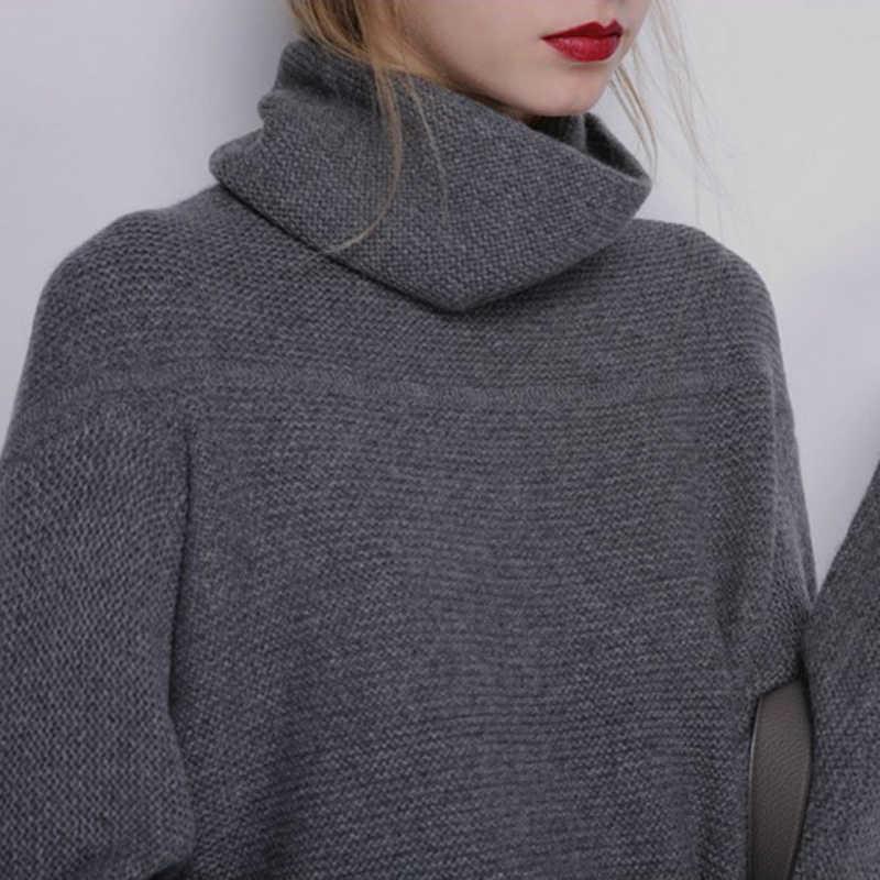가을 겨울 새로운 패션 캐시미어 울 여성 따뜻한 솔리드 스웨터 여성 캐주얼 긴 소매 터틀넥 느슨한 니트 풀오버