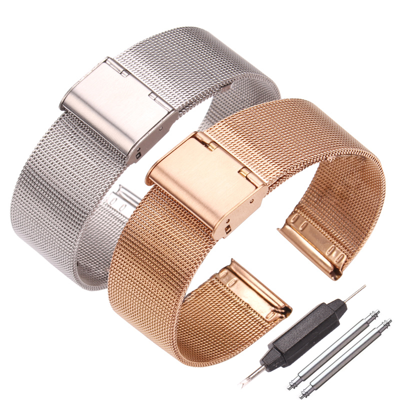 Milanese Loop Watchbands 16mm 18mm 20mm 22mm 24mm Stainless Steel Woven Watch Band Strap Metal Bracelet Double Clasp Accessories