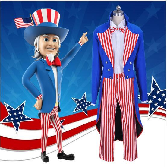 Best Seller Cartoon Uncle Sam cosplay costume Halloween Costume for men stripe Uniforms suits full set with Hat