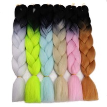 Amir100g/pack 24inch braiding hair ombre two tone colored jumbo braids hair synthetic hair for dolls crochet hair