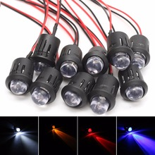 10pcs New 12V 10mm Pre-Wired Constant LED Ultra Bright Water Clear Bulbs Red / Yellow / Blue / White
