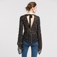 HIGH QUALITY Newest 2018 Fashion Runway Designer Tops Women's Back V Beaded Blouse Tops