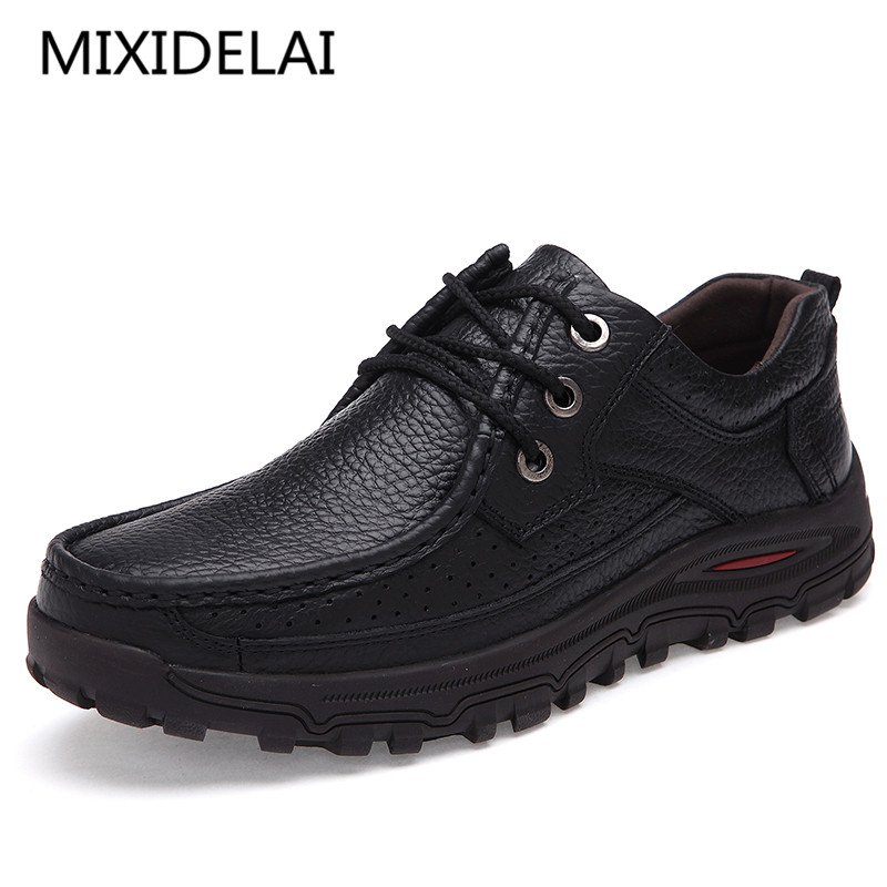 MIXIDELAI Brand Men Shoes Handmade High Quality Genuine Leather Shoes Slip On Comfort Business Man Casual Shoes Big Size 47 48