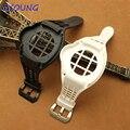 Природные силиконовый ремешок для часов черный белый водонепроницаемый резиновый браслет часы ремешок для Panerai 38 мм 42 мм Циферблат