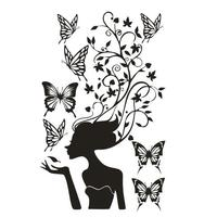 New Fashion Girl Vinyl Wall Decal Girl Butterfly Flower Mural Wall Sticker Nail Beauty Hair Shop Decal Bedroom Wall Decoration