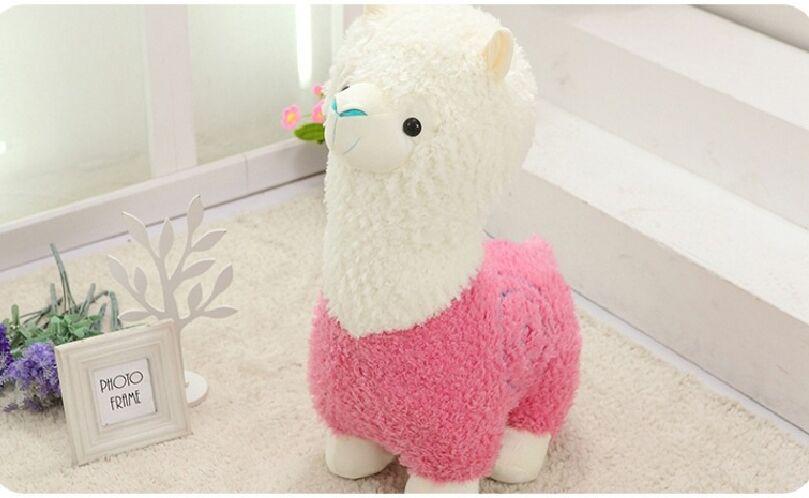 Peluche grand 50 cm rose & blanc alpaga peluche jouet doux poupée jeter oreiller cadeau de noël b1237