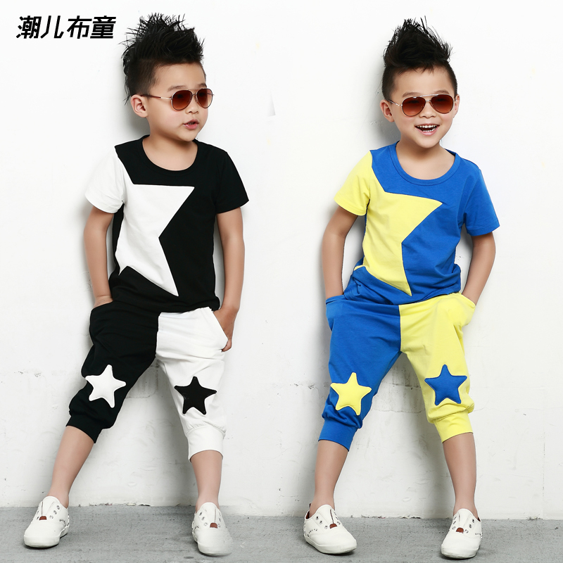 2015 new Fashion summer childrens clothing set Costume Stars T-shirt & pants dance Hip Hop harem pant kids sports suits twinset ...