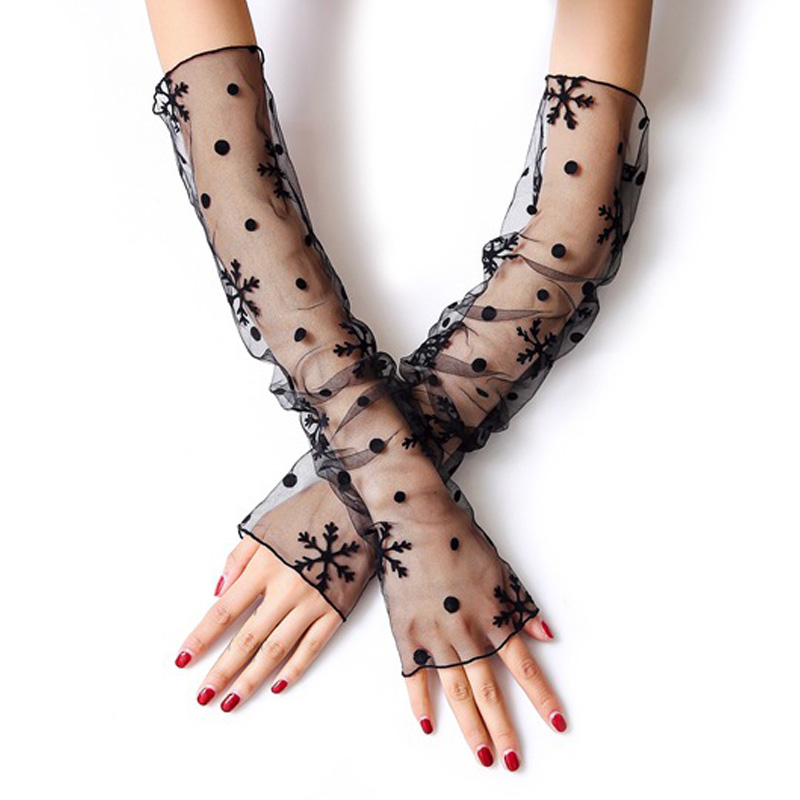 Fashion Mesh Lace Bow Cotton Mummy Sleeves Decorated Fake False Cuffs Temperament White Black Crest Collar Lace Silky Organist
