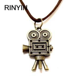 Velvet Necklace Leather Jewelry Punk Jewelry Vintage Necklace Hiphop Rock Style Robot Camera Pendant M1583(China)