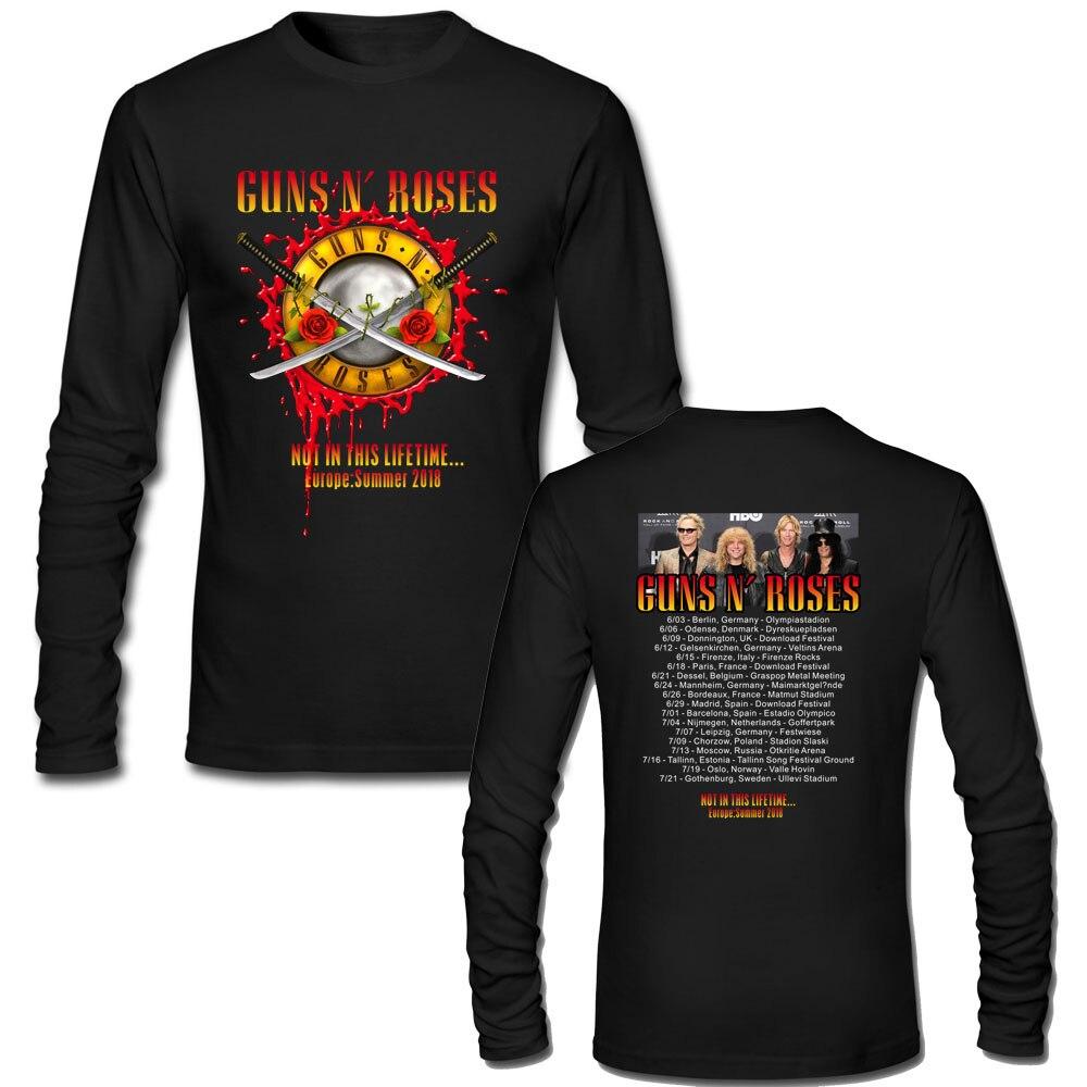Gun N Rose Not in This Lifetime 2018 Tour Date Concert Long Sleeve t-shirt Men Women Top Tee Custom Plus Size Punk Rock T Shirt