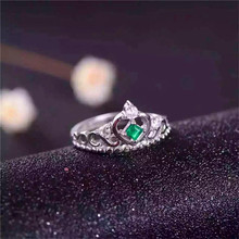 Jewelry 2017 new design silver emerald ring 4mm round brilliant cut natural emerald solid 925 silver emerald ring chic rhinestone faux emerald round ring for women