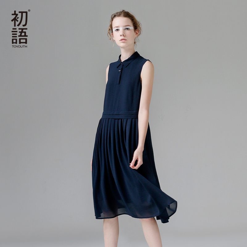 Toyouth Summer Chiffon Tank Dresses Casual Turn-Down Collar Sleeveless Bodycon Dress Women Solid Pleated Midi Vestidos Femme