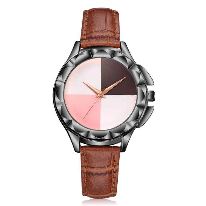 Haute qualité mode bracelet en cuir Rose or femmes montre décontracté coloré disque montre-bracelet femmes robe dames montres de luxe