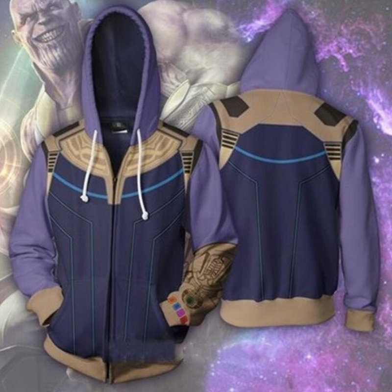 Jacket Thanos Sweatshirts Avengers Infinity War Men Women 3D Hoodies Cosplay Costume Plus size Uniform Zipper Top Coat