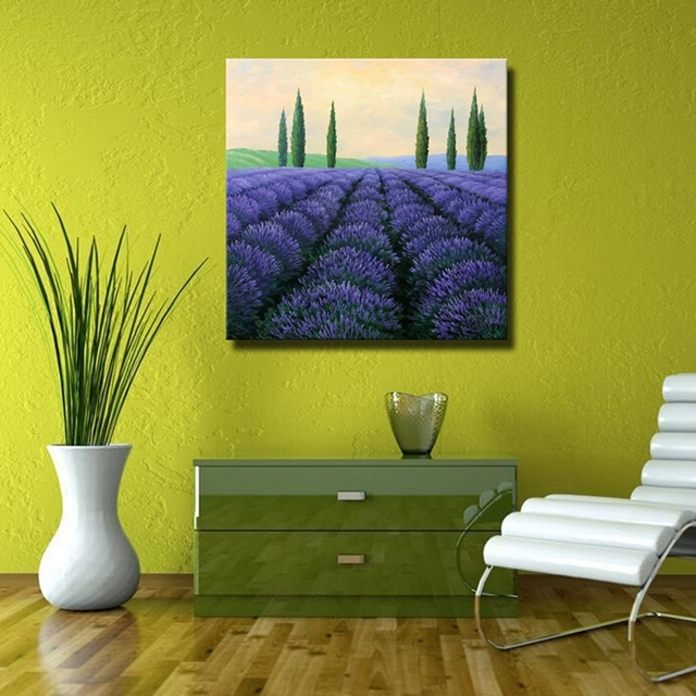 Beautiful Lavender Oil Paintings Purple Abstract Landscape Canvas ...
