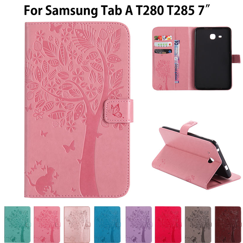 High quality Cat Tree Pattern Stand Case For Samsung Galaxy Tab A6 7.0 T280 T285 7 Cases Cover Funda Tablet PU leather Shell new listing luxury tablet shockproof case cover for samsung galaxy tab a a6 7 0 t280 t285 child fashion back cases stylus